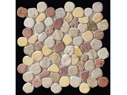 Taro travertine mix, Mosa�que de galets sci�, carrelage de 30x30 cm. Boxer