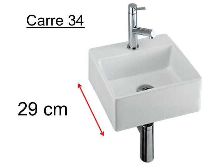 meubles lave mains robinetteries lave mains lave mains en c ramique profondeur 29 cm carre. Black Bedroom Furniture Sets. Home Design Ideas