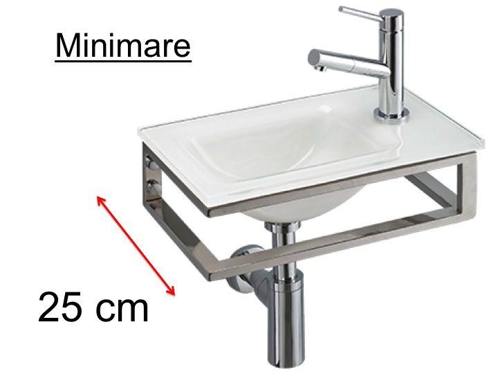 meubles lave mains robinetteries lave mains lave mains en verre blanc support inox largeur. Black Bedroom Furniture Sets. Home Design Ideas
