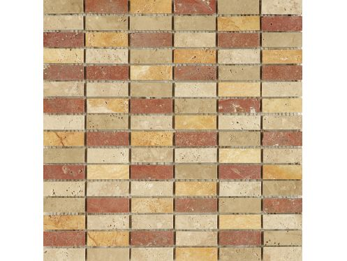 Mini Teseo Travertino Mix, Mosaïque de marbre, carrelage de 30,5x30,5 cm. Boxer