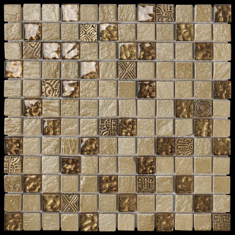 Paves briques de verres mosa ques et galets tical ocra - Plaque mosaique salle de bain ...