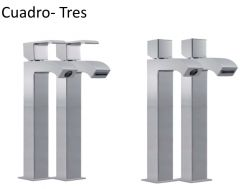 Robinet Mitigeur lavabo cuadro-tres 220 mm, robinet cascade bec ouvert, finition chrome
