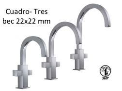 Robinet Mélangeurs lavabo bec 22x22 mm., cuadro-tres 170-200-240 mm, finition chrome