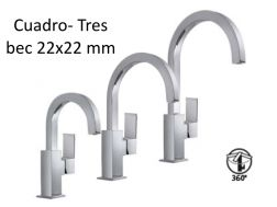 Robinet Mitigeur lavabo; bec 22x22 mm, cuadro-tres 170-200-240 mm, finition chrome