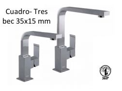 Robinet Mitigeur lavabo bec 35x15 mm., cuadro-tres 200-280 mm, finition chrome