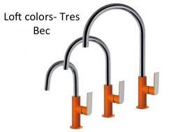 Robinet Mitigeur lavabo bec, loft colors tres, finition orange